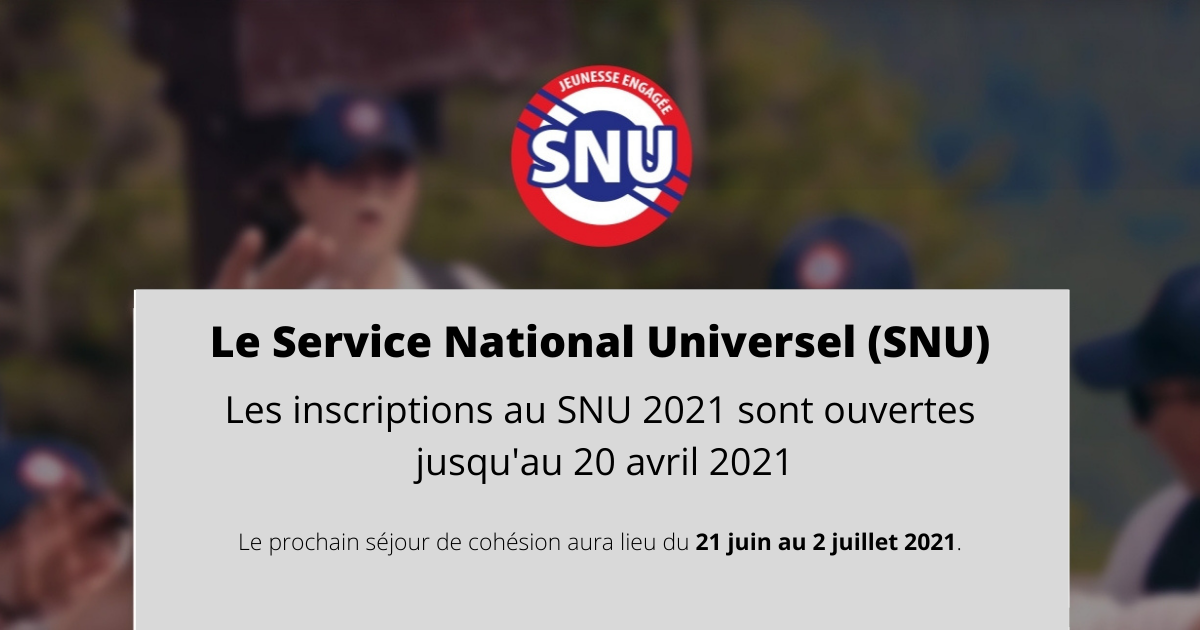 Service National Universel - inscriptions 2021