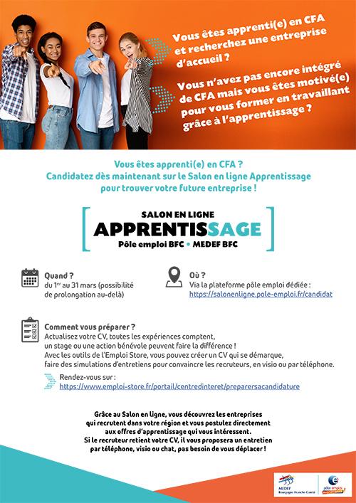 Flyer du salon en ligne Apprentissage organisé par Pôle Emploi et le Medef BFC