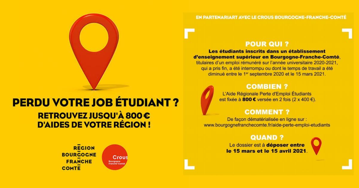 800 € d'aide régionale pour les étudiants ayant perdu leur job
