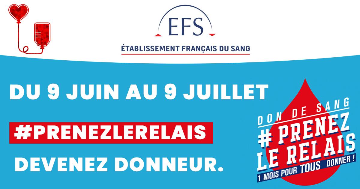 Don du sang : #prenezlerelais du 9 juin au 9 juillet 2021