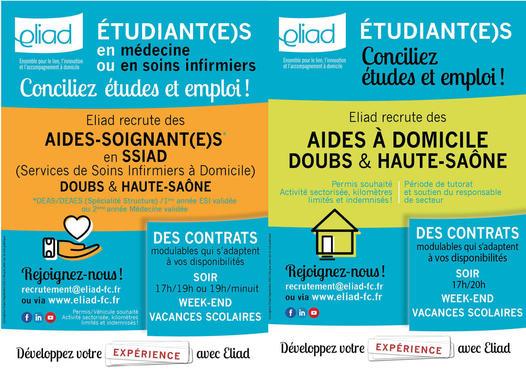 Flyer offres de Jobs aides-soignant(e)s et aides à domicile Eliad Doubs et Haute-Saône