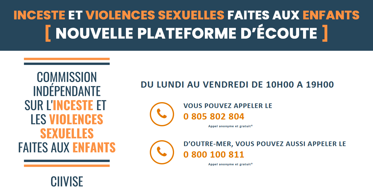 Inceste et violences sexuelles, lancement d'une plateforme dédiée